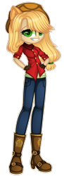 Size: 1280x3520 | Tagged: safe, artist:fantarianna, applejack, human, applejack's hat, boots, clothes, cowboy boots, cowboy hat, denim, eared humanization, female, gloves, hand on hip, hat, humanized, jeans, leather gloves, looking at you, pants, shoes, simple background, solo, standing, transparent background