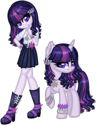 Size: 1208x1575 | Tagged: safe, artist:fantarianna, rarity, twilight sparkle, oc, oc:violette, human, pony, unicorn, boots, bracelet, clothes, female, fusion, hair ornament, hand on hip, human and pony, humanized, jewelry, lesbian, looking at you, necklace, rarilight, self ponidox, shipping, shoes, simple background, skirt, transparent background, wavy hair