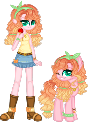 Size: 1280x1773 | Tagged: safe, artist:fantarianna, applejack, pinkie pie, oc, oc:apple pie, earth pony, human, pony, equestria girls, boots, candied apple, candy, clothes, curly hair, denim skirt, female, food, fusion, headband, human and pony, humanized, jewelry, looking at you, necklace, one eye closed, pigtails, self ponidox, shoes, simple background, skirt, transparent background, twintails, two toned hair, two toned mane, wink