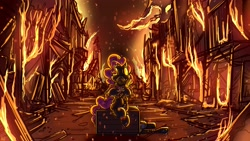 Size: 3840x2160 | Tagged: safe, artist:pirill, pinkie pie, earth pony, pony, crate, embers, fire, flamethrower, gas mask, houses, mask, meet the pyro, pinkie pyro, playing, pony figurines, pyro, sitting, smoke, solo, team fortress 2, weapon