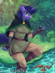 Size: 665x885 | Tagged: safe, artist:imanika, oc, oc only, anthro, fish, unicorn, boots, breasts, clothes, commission, digital art, feeding, female, glasses, gloves, grass, hat, horn, river, shoes, solo, tail, water, ych result