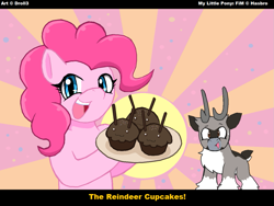 Size: 1267x951   Tagged: safe, artist:droll3, pinkie pie, oc, oc:droll, earth pony, pony, cupcake, digital art, food, reindeer pony, text