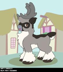 Size: 1101x1264 | Tagged: safe, artist:droll3, oc, oc:droll, deer, pony, reindeer, digital art, horn, ponyville, reindeer pony, solo