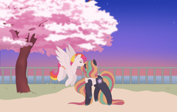 Size: 8000x5101 | Tagged: safe, artist:midnightamber, oc, oc:cosmo couture, oc:sunrise surprise, earth pony, pegasus, pony, boop, cherry blossom tree, flying, long hair, long mane, long tail, mowhawk, multicolored hair, multicolored mane, multicolored tail, plants, smiling, stars, sunsetting, tree