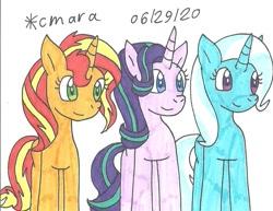 Size: 1053x811 | Tagged: safe, artist:cmara, starlight glimmer, sunset shimmer, trixie, pony, unicorn, cute, diatrixes, female, glimmerbetes, magical trio, mare, shimmerbetes, traditional art