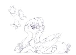 Size: 1688x1216 | Tagged: safe, artist:alazak, oc, oc only, oc:autumn breeze, butterfly, pegasus, pony, monochrome, solo