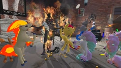Size: 1280x720 | Tagged: safe, artist:horsesplease, sunset shimmer, galarian ponyta, horse, ponyta, robot, wolf, 3d, band, bipedal, drums, fire, five nights at freddy's, giddyup buttercup, gmod, guitar, insanity, musical instrument, pokémon, twisted wolf, walking campfire