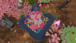 Size: 1280x720 | Tagged: safe, artist:horsesplease, pinkie pie, bird, cockatoo, robot, 3d, ball pit, bubble berry, bubblepie, cherry blossoms, cuddling, dashcon, female, flower, flower blossom, gmod, male, rule 63, sakura pie, self ponidox, selfcest, shipping, sleeping, spooning, straight