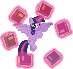 Size: 8000x7520 | Tagged: safe, artist:chrzanek97, artist:yanoda, twilight sparkle, alicorn, pony, shadow play, .svg available, absurd resolution, book, cute, cutie mark, female, flying, levitation, magic, mare, open mouth, solo, telekinesis, that pony sure does love books, twiabetes, twilight sparkle (alicorn), vector