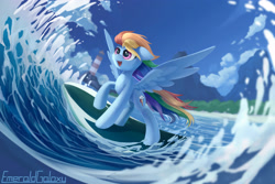 Size: 3000x2000 | Tagged: safe, artist:emeraldgalaxy, rainbow dash, pegasus, pony, lighthouse, ocean, open mouth, solo, surfboard, surfing, watermark