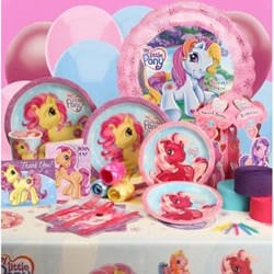 Size: 400x400 | Tagged: safe, photographer:absol, cherry blossom (g3), kimono, rarity (g3), sparkleworks, sunny daze, balloon, cup, fork, g3, invitation, knife, merchandise, napkin, plate, ribbon, spoon, summer bloom
