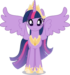 Size: 4197x4500 | Tagged: safe, artist:limedazzle, twilight sparkle, alicorn, pony, the last problem, absurd resolution, crown, female, front view, hoof shoes, jewelry, looking at you, mare, older, older twilight, peytral, princess twilight 2.0, regalia, simple background, smiling, solo, spread wings, standing, transparent background, twilight sparkle (alicorn), vector, wings