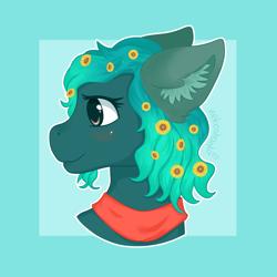 Size: 1900x1900   Tagged: safe, artist:nekoshanka, oc, oc:sandflower, pony, badge, bust, clothes, curly hair, cute, flower, green, head, portrait, scarf, side view, solo, sunflower