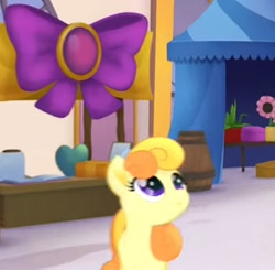 Size: 612x600 | Tagged: safe, screencap, earth pony, pony, my little pony: the movie, background pony, booth, cropped, female, happy, mare, unnamed character, unnamed pony, we got this together