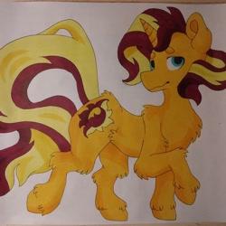 Size: 1080x1080 | Tagged: safe, artist:c_owokie, sunset shimmer, pony, unicorn, chest fluff, female, fluffy, mare, raised hoof, solo, traditional art, unshorn fetlocks
