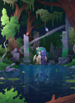 Size: 1800x2476 | Tagged: safe, artist:yakovlev-vad, princess celestia, princess luna, oc, alicorn, bird, pony, altered reflection, chest fluff, female, headcanon, hug, lilypad, mare, raised leg, reflection, royal sisters, ruins, sitting, tree, water, winghug