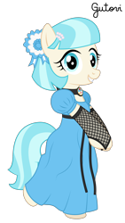 Size: 1876x3334 | Tagged: safe, artist:gutovi, coco pommel, earth pony, argentina, bipedal, choker, clothes, coat of arms, cockade, cute, dress, female, fishnet clothing, fishnet gloves, hairclip, independence day, looking at you, mare, pearl, ribbon, simple background, smiling, smiling at you, transparent background