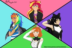 Size: 1280x854 | Tagged: safe, artist:mayukitty, rainbow dash, sunset shimmer, human, fanfic:sapr, equestria girls, arm ribbon, belly shirt, black hair, blake belladonna, blouse, blue background, blue eyes, bow, clothes, collar, colored, cowlick, crossover, cutie mark, cutie mark on clothes, dark skin, eared humanization, fanfic art, faunus, freckles, gloves, goggles, green background, green eyes, grin, hair bow, human coloration, humanized, jacket, leather jacket, long hair, penny polendina, pink background, purple background, red hair, rwby, salute, short hair, simple background, smiling, suspenders, sweatshirt, winged backpack, yellow eyes