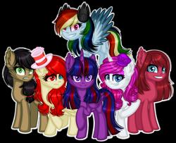 Size: 1280x1040 | Tagged: safe, artist:fantarianna, applejack, fluttershy, pinkie pie, rainbow dash, rarity, twilight sparkle, alicorn, earth pony, pegasus, pony, unicorn, elements of insanity, alternate mane six, alternate universe, applepills, brutalight sparcake, fluttershout, hat, pinkamena diane pie, pinkis cupcake, pony monster, purple hat, rainbine, rainbine ears, rarifruit, simple background, transparent background, twilight sparkle (alicorn)