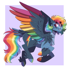 Size: 1024x1068 | Tagged: safe, artist:wanderingpegasus, rainbow dash, cheek fluff, chest fluff, colored hooves, colored wings, multicolored wings, rainbow wings, redesign, tail feathers, wings