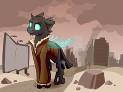 Size: 4000x3000 | Tagged: safe, artist:witchtaunter, oc, oc only, oc:tinkerbelt, changeling, fallout equestria, changeling oc, cheeselegs, clothes, cloud, coat, fangs, horn, quadrupedal, ruins, smoke, solo, tail, wasteland, wings