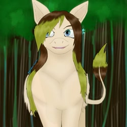 Size: 735x735 | Tagged: safe, alternate version, artist:starly_but, oc, oc only, pegasus, pony, female, leonine tail, mare, outdoors, pegasus oc, smiling, solo, tree, wings