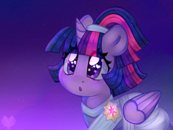 Size: 3979x2989 | Tagged: safe, artist:bunxl, twilight sparkle, alicorn, pony, the last problem, :o, alternate hairstyle, clothes, coronation dress, cute, dress, eye clipping through hair, female, heart eyes, high res, mare, open mouth, purple background, second coronation dress, simple background, solo, starry eyes, twiabetes, twilight sparkle (alicorn), wingding eyes