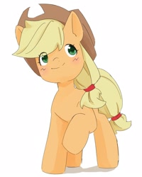 Size: 1728x2160 | Tagged: safe, artist:mikey_pony, applejack, earth pony, pony, blushing, cute, eye clipping through hair, female, jackabetes, mare, simple background, solo, white background