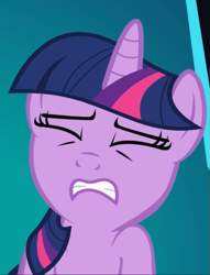 Size: 715x938 | Tagged: safe, screencap, twilight sparkle, unicorn, the crystal empire, cropped, eyes closed, out of context, solo, struggling, unicorn twilight