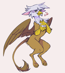 Size: 2437x2719 | Tagged: safe, artist:1an1, gilda, griffon, alternate design, arm fluff, bipedal, butt fluff, cheek fluff, chest fluff, cute, eared griffon, eyelashes, feather, floppy ears, fluffy, gildadorable, hand on chest, heart, paws, simple background, smiling, spread wings, tail fluff, talons, white background, wings, yellow eyes