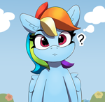Size: 1880x1830 | Tagged: safe, artist:pabbley, part of a set, rainbow dash, pegasus, pony, cute, dashabetes, female, looking at you, mare, question mark, solo