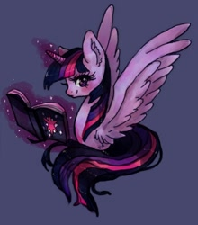 Size: 1040x1184   Tagged: safe, artist:lilivache5050, twilight sparkle, alicorn, pony, book, ear fluff, female, magic, purple background, simple background, smiling, solo, twilight sparkle (alicorn), wings