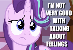 Size: 1280x877 | Tagged: safe, starlight glimmer, pony, unicorn, fame and misfortune, caption, cute, female, glimmerbetes, image macro, mare, sad, sadorable, solo, text
