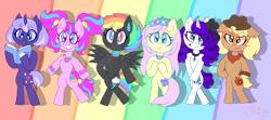 Size: 4500x2000   Tagged: safe, artist:alannaartroid, applejack, fluttershy, pinkie pie, rainbow dash, rarity, twilight sparkle, cyborg, earth pony, pegasus, pony, robot, robot pony, unicorn, alternate hairstyle, alternate universe, amputee, applejack's hat, bandana, beauty mark, bipedal, book, bracelet, choker, collar, cowboy hat, curved horn, eyeshadow, female, floral head wreath, flower, flower in hair, freckles, glasses, hat, heterochromia, horn, jewelry, makeup, mane six, mare, prosthetic limb, prosthetics, raised hoof, redesign, wristband