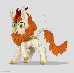 Size: 1024x1006 | Tagged: safe, artist:decepticoncyberwolf, autumn blaze, kirin, ear fluff, female, gray background, leg fluff, looking at you, simple background, solo