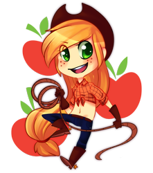 Size: 900x1020 | Tagged: safe, artist:pheepupper, applejack, human, belly button, chibi, cute, cutie mark background, eye clipping through hair, female, front knot midriff, humanized, jackabetes, lasso, midriff, rope, simple background, solo, transparent background