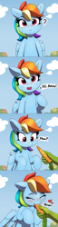 Size: 1880x7320 | Tagged: safe, artist:pabbley, edit, rainbow dash, oc, oc:anon, pegasus, pony, all in one, blue fur, blue wings, blushing, bronybait, carrot, cloud, comic, cute, dashabetes, eyes closed, female, floating heart, food, happy, heart, herbivore, hi anon, horses doing horse things, mare, multicolored mane, munching, nom, offscreen character, outdoors, pabbley is trying to murder us, pink eyes, pov, question mark, sky, smiling, talking, tomboy, weapons-grade cute, wings