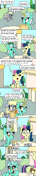 Size: 750x3600 | Tagged: safe, artist:bjdazzle, bon bon, derpy hooves, lyra heartstrings, sweetie drops, earth pony, pegasus, pony, unicorn, season 9 retirement party, the big mac question, betting, binder, chibi, comic, engaged, engagement ring, eye clipping through hair, female, foreshadowing, genre savvy, i just don't know what went wrong, implied chrysalis, implied discord, implied tirek, jewelry, leaving, lesbian, levitation, lyrabon, magic, mare, necklace, nervous, nope, notes, optimism, paper, pessimist, priorities, quill, ring, shipping, sweat, sweatdrop, table, telekinesis