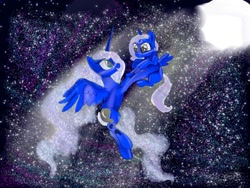 Size: 1080x810 | Tagged: safe, artist:bellas.den, princess luna, oc, alicorn, pony, alicorn oc, duo, ethereal mane, female, filly, flying, full moon, holding a pony, horn, mare, moon, night, parent:princess luna, starry mane, stars, wings