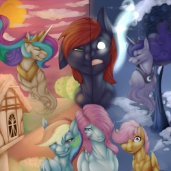 Size: 1280x1280 | Tagged: safe, artist:sinibeau, artist:sintacle, princess celestia, princess luna, rainbow dash, scootaloo, oc, alicorn, earth pony, pegasus, pony, apple, apple tree, building, collar, crown, day, digital art, eyes closed, faic, glowing eyes, gritted teeth, horn, jewelry, looking at you, night, ponyville, regalia, smug, smugdash, tail, tree, two-face, wings