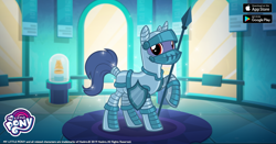 Size: 1200x630 | Tagged: safe, screencap, unicorn, from the shadows, armor, facebook, gameloft, knight, medieval equestria, shield, spear, weapon