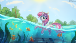 Size: 2400x1350 | Tagged: safe, artist:enderselyatdark, sweetie belle, fish, pony, unicorn, cute, diasweetes, female, scenery, seaweed, solo, sun, swimming, tree, water, wet, wet mane