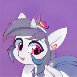 Size: 1024x1024   Tagged: safe, artist:thisponydoesnotexist, oc, oc only, pony, unicorn, cute, female, mare, neural network, ocbetes, purple background, simple background, tongue out
