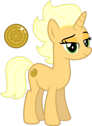 Size: 4000x5450 | Tagged: safe, artist:melisareb, sungold, pony, unicorn, my little pony: the movie, .svg available, absurd resolution, coin, cutie mark, female, headcanon, lidded eyes, looking at you, mare, simple background, solo, transparent background, vector