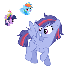 Size: 1280x1209 | Tagged: safe, artist:tenderrain46, rainbow dash, twilight sparkle, oc, pony, big crown thingy, element of magic, female, jewelry, magical lesbian spawn, mare, offspring, parent:rainbow dash, parent:twilight sparkle, parents:twidash, regalia, simple background, transparent background