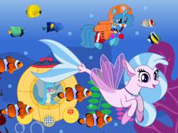 Size: 1440x1080 | Tagged: safe, artist:徐詩珮, gallus, silverstream, spring rain, fish, griffon, pony, seapony (g4), unicorn, series:sprglitemplight diary, series:sprglitemplight life jacket days, series:springshadowdrops diary, series:springshadowdrops life jacket days, base used, clownfish, cute, diastreamies, female, gallstream, lifeguard, lifeguard spring rain, male, mare, paw patrol, shipping, snorkel, snorkeling, springbetes, straight, zuma (paw patrol)