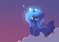 Size: 3500x2500 | Tagged: safe, artist:kebchach, princess luna, alicorn, cloud, colored wings, crown, evening, evening sky, female, filly, gradient background, high res, jewelry, luna's crown, magic, multicolored wings, regalia, sky, solo, teary eyes, wings, woona, younger