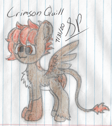 Size: 2016x2284 | Tagged: safe, artist:mlplayer dudez, oc, oc only, oc:quill, chest fluff, colored, cute, happy, leg fluff, paws, signature, smiling, solo, standing, traditional art, wings