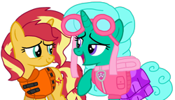Size: 1823x1047 | Tagged: safe, artist:徐詩珮, glitter drops, sunset shimmer, pony, unicorn, series:sprglitemplight diary, series:sprglitemplight life jacket days, series:springshadowdrops diary, series:springshadowdrops life jacket days, alternate universe, clothes, cute, female, glitterbetes, lifejacket, mare, paw patrol, simple background, skye (paw patrol), transparent background