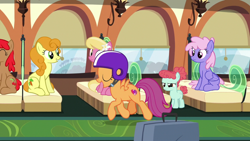 Size: 1920x1080 | Tagged: safe, screencap, carrot top, cherry spices, golden harvest, lily, lily valley, rainbowshine, scootaloo, earth pony, pegasus, unicorn, growing up is hard to do, being big is all it takes, helmet, older, older scootaloo, smiling